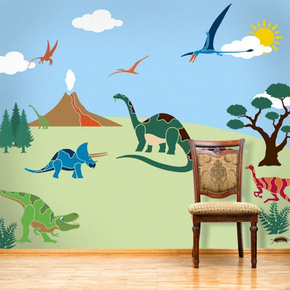 Dinosaur wall mural stencil kit for boys or baby by for Baby boy wall mural