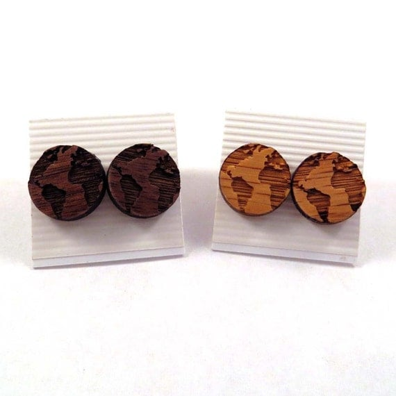 Globe sustainable wooden post earrings walnut or oak earth for Why is wood sustainable
