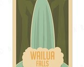 Wailua Falls - 12x18 Retro Hawaii Print