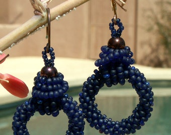 Beaded Earrings, Blue Hoops