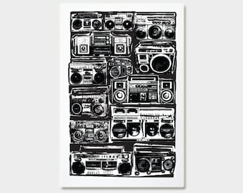 Boomboxes Art Print - Ghetto Blaster - Hand Printed - 12X18