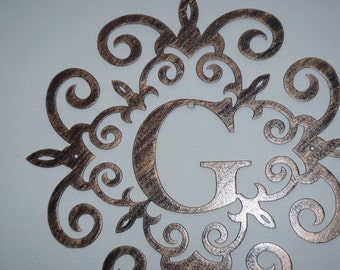Family initial, Monogram inside a Metal Scroll with  ,  Wall decor, Metal Art