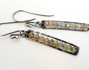 Labradorite Earrings Gemstone Jewelry Oxidized Sterling Silver Dangle Beeskers