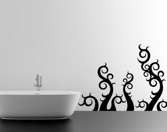 Tentacle, Swirl Wall Decal, The Kraken, Octopus, Squid, Vinyl Sticker, Home Decor, Bathroom Artwork, Abstract, Organic, Kid's Bedroom Decor