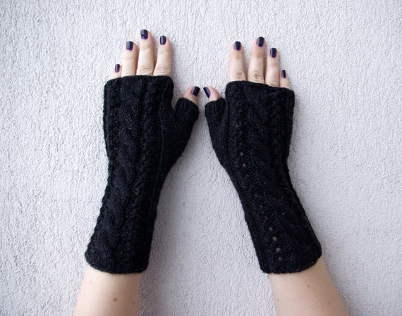 Knit Fingerless Gloves Mittens Women fingerless gloves Black Hand-knitted Cabled Wrist Warmers with shiny thread attachment.