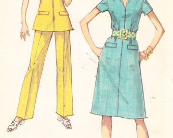 """1970s Vintage Womens Sewing Pattern Dress Tunic and Pants Simplicity 9326 Size 10 Bust 32.5"""""""