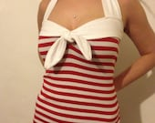 Nautical Stripe Rockabilly Halter neck Top with Tie Front. Blue or Red.