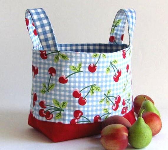 Last one Fabric basket  bin storage  organizer easter basket cherry in blue boy / girl  gift
