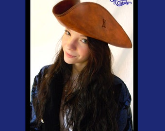 Leather Tricorn Hat, Custom Order Made to Fit, by Elstwhen.