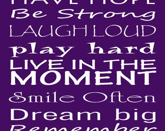 Believe in yourself inspirational print 11 x 14 purple Encourage them to be their best