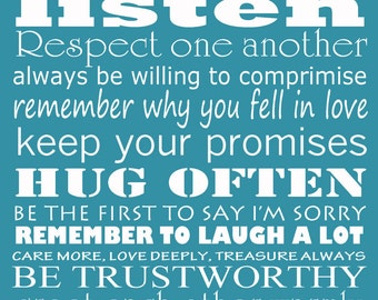 """Married rules of love - blue 16x20"""" print gift for new home wedding bridal shower"""