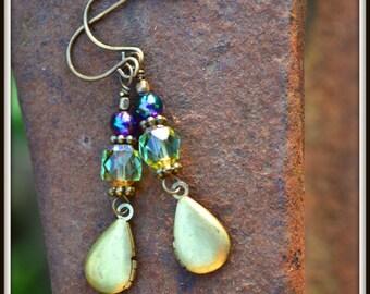 Tiny Teardrop Locket Earrings vintage brass teardrop locket and Czech glass earrings