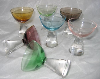 7 Modernist Cordial, Liqueur, or Whiskey Drinking Glasses. Mid century modern,  Eames era. 1950's
