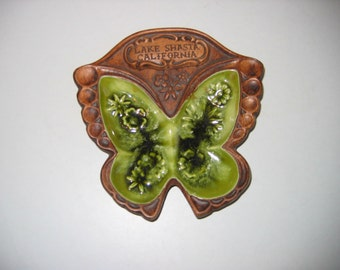 Treasure Craft ceramic Dish.  Butterfly. Lake Shasta, California, Tiki Bar, Mid century modern, Danish Modern, Eames era. 1960's.