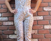 Amazing Gold Leopard Print 1970s Open Back Disco Pantsuit