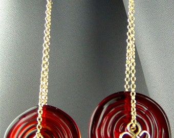 """Red Glass Flat Swirled, Wire wrapped 14k Gold Filled Wire and Earwires - Red Zen - 3 3/4"""""""