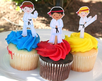 Karate Boy Martial Arts Party Cupcake Toppers Set of 12