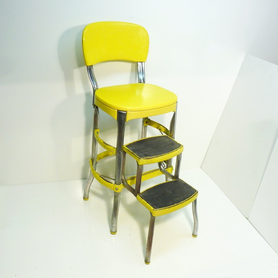 Bright Yellow Retro Cosco 50s Vintage Step Stool Kitchen Stool
