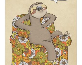 Sloth Chillaxing - Illustration Print