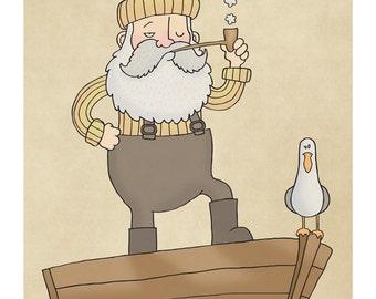 Fisherman and Seagull - Illustration Art Print