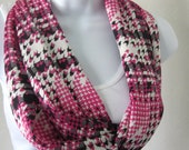 SALE Houndstooth Infinity Scarf  Black Pink Grey and White Plaid Scarf  Handmade Fashion by Thimbledoodle