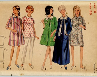 1960s Butterick 4626 Vintage Sewing Pattern Misses' Robe in Three Lengths Bust 36 UNCUT