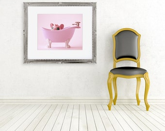 pink mouse photograph ... fine art photo nursery decor baby girl wall pretty pink bathroom ... a little privacy please...