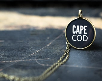 Cape Cod Necklace - Miniature Pendant - Vintage Typewriter Key Inspiration - Glossy Resin Charm