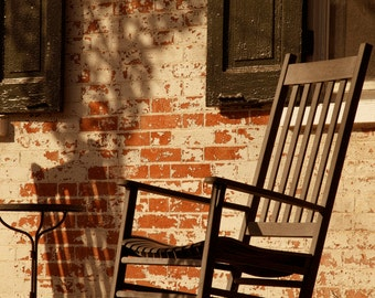 Chair and Shadow, Rustic Photograph, Front Porch, Old Wall, Cottage Chic, Americana, Shabby Chic, Brick Wall, Earth Tone,  Cream, Art Print