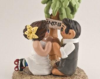 Beach Bride and Groom Palm Tree Wedding Cake Topper
