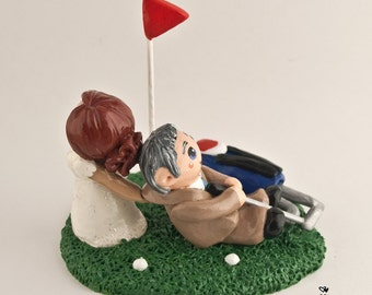 Golf Bride and Groom Wedding Cake Topper