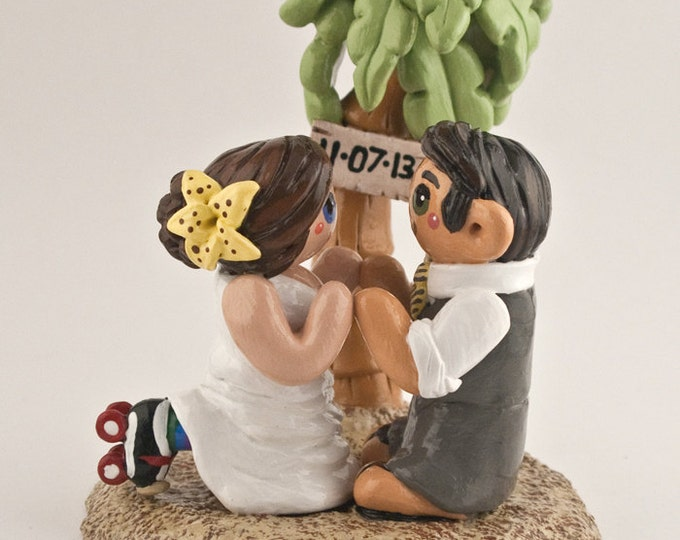 Beach Bride and Groom Palm Tree Wedding Cake Topper