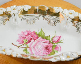 Porcelain Relish Dish / Candy Dish / Trinkets Dish, painted with pink roses, Germany porcelain