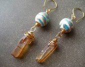 Aqua Blue Swirl: Peach Tangerine Titanium Quartz Spear, Lampwork Glass, Gold Vermeil Dangle Earrings, FREE Shipping