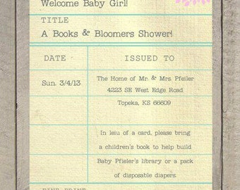 Library Card Invitation - Books and Bloomers Shower