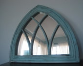 Amazing Gothic Arched Solid Wood Mirror in Icy Dark Minty Blue Cathedral Window Mirror Rustic Distressed - SpinYourDream