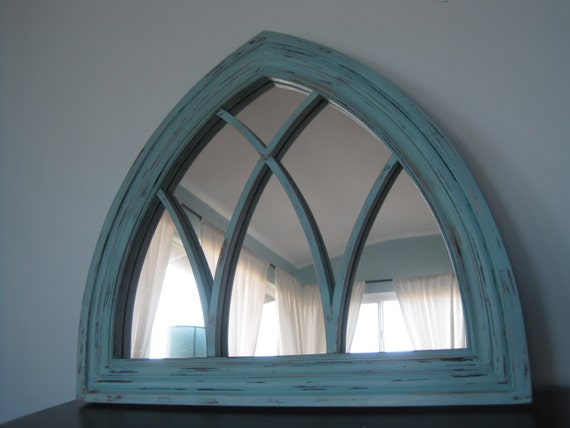 Amazing Gothic Arched Solid Wood Mirror In Icy Dark Minty Blue