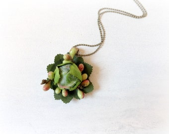 Lotus Flower - Fabric necklace mint forest green bud leaves pink salmon lime nature lover spring floral jewelry under 50