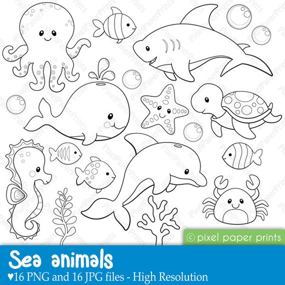 sea animals digital stamps clipart - Cute Ocean Animals Coloring Pages