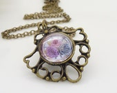 Pink and purple flower necklace, purple and white necklace, cabochon necklace, victorian clock necklace in antique bronze