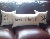 Beach House Pillow, Stuffed Decorative Pillow, Beach House Decor, Burlap Pillow, Choice of Colors, Lumbar Pillow, Rustic Beach Decor Pillow