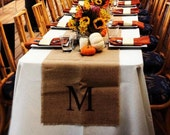 Set of 10 Initial Table Runners 15 Inches Wide - Monogram Burlap Table Runners -  Fall Wedding - Choose Your Colors and Length
