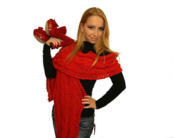 Extra Long Red Scarf