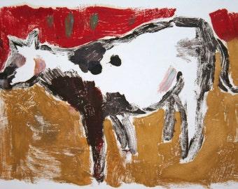 """Cow Monotype, Original Vintage Art, Paint on Paper, Monoprint, 12"""" x 16-1/4"""""""