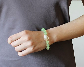 Rough citrine bracelet, raw gemstone bracelet, natural green stone bracelet, rough gemstone jewelry, raw stone bracelet, prehnite