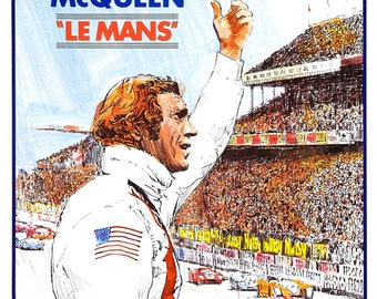 "Steve McQueen - Le Mans - Home Theater Media Room Decor - Movie Poster Print - 13""x19"" or 24""x36"" - Formula One Car Racing  Indy 500 Daytona"