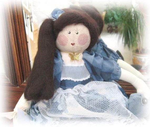 OOAK Art Doll Soft Sculpture Doll  MAKI 16 inch Handmade CharlotteStyle SIGNED