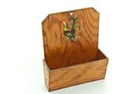 vintage wooden rooster letter carrier