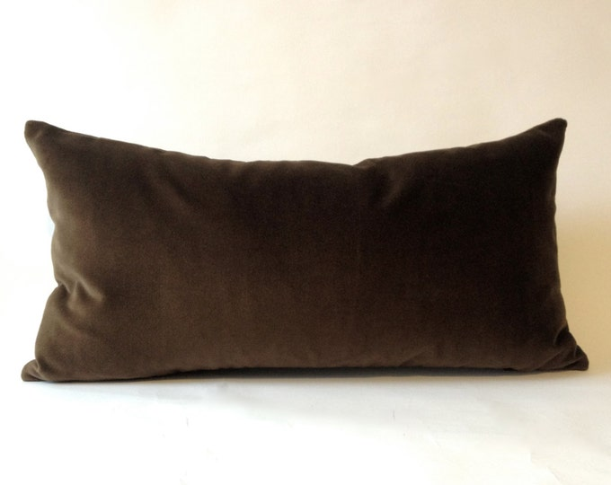 Chocolate Brown Cotton Velvet Pillow Cover -Decorative Accent Bolster -Invisible Zipper Closure -Knife Or Piping Edge -16x16 to 26x26