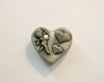 Cute Heart Shaped Pewter Box That is Also A Pin with a Cherub